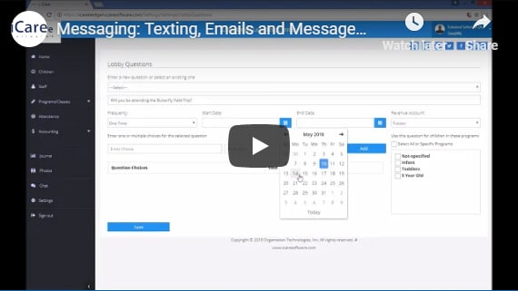 Texting emails and messages through the lobby of child care management software.